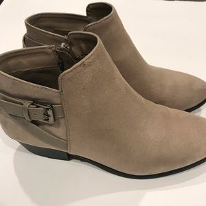 Soda Taupe Faux Suede Back Strap Buckle Bootie